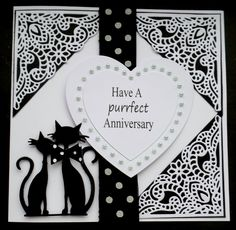 S151 Hand made Anniversary card using Marianne French Cats and Tattered Lace corners