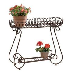 Brighten your patio space with a plant stand and lots of flowers.