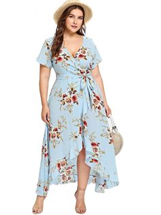 Shop Plus Asymmetric Ruffle Hem Botanical Wrap Dress online. SheIn offers Plus Asymmetric Ruffle Hem Botanical Wrap Dress & more to fit your fashionable needs. Half Sleeve Dresses, Plus Size Maxi Dresses, Plus Size Outfits, Dresses With Sleeves, Short Sleeves, Casual Dresses, Dresses Dresses, Bride Dresses, Short Dresses