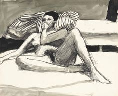 """Richard Diebenkorn (1922-1993) Untitled (c. 1960-1966) charcoal and ink on paper 13 7/8 x 16 7/8 in. (35.2 x 42.9 cm) """""""