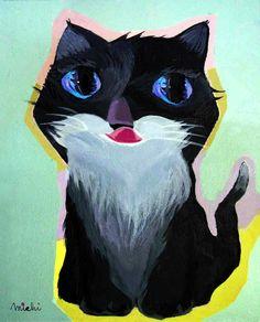 ふわふわ白ひげの黒猫 中尾道也 Cat Paintings, Space Cat, My Works, Cats, Fictional Characters, Gatos, Kitty Cats, Cat Breeds, Fantasy Characters