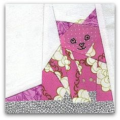 kitty in pink free patterns. Cat Quilt Patterns, Paper Piecing Patterns, Quilt Baby, Coastal Quilts, Cat Applique, Cat Pattern, Free Pattern, Cat Fabric, Animal Quilts