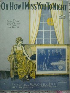 "1924 ""Oh How I Miss You Tonight"" Sheet Music by cindyscozyclutter on Etsy"