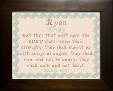 Cross Stitch Ryan with a name meaning and a Bible verse