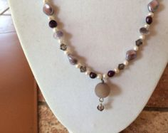 Gorgeous purple and white pearl necklace with purple Druzy and Swarovski crystals - Edit Listing - Etsy