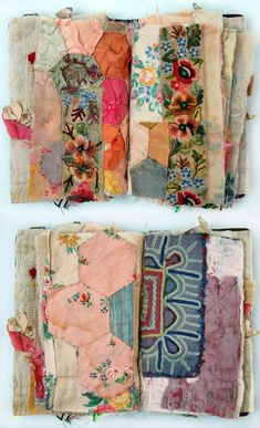 British artist Mandy Pattullo creates gorgeous pieces of stitched and pieced textiles using vintage fabrics and embroideries. Art Textile Fabric collage and embroidery by textile artist Mandy Pattullo Art Fibres Textiles, Textile Fiber Art, Textile Artists, Textile Fabrics, Fabric Journals, Art Journals, Vintage Embroidery, Embroidery Fabric, Applique Fabric