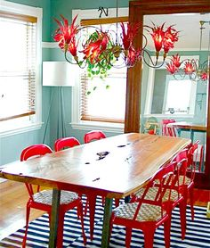 Red and Teal - thinking about painting the back door teal to balance the red buffet.