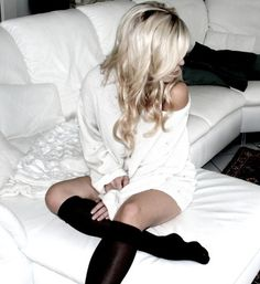 I love just sweaters and knee highs! ♥
