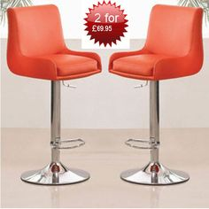 Buy 2 Gala Red Bar Stools Just for £69.95 Larger view