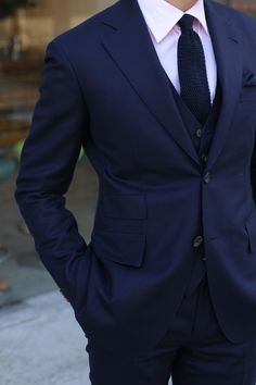 You can't fail with a well made navy suit. Fabric from Dugdale Super 120's and cashmere.