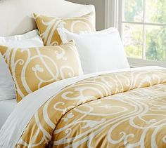 Cailin Scroll Duvet Cover & Sham #potterybarn - love the gold and white together.  Maybe walls and white trim colors?