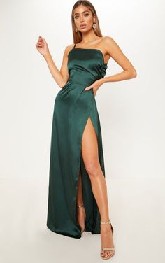 fd18d797a2 Emerald Green One Shoulder Satin Ruched Maxi Dress