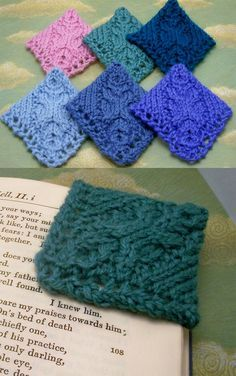 Knitting Pattern for Cable Corner Bookmark - The corner bookmark is a spin-off of the traditional bookmark only instead of slipping it into the book it hugs the pages. Great stash buster for scrap yarn!