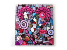 A Small Unique Pique Assiette & Mixed Media Heart Mosaic by Shawn DuBois.