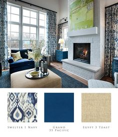 From the HGTV SmartHome 2014 Great Room, the classic color combination of navy and neutral tans create a comfortable home ambiance.