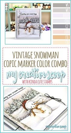 Vintage Snowman Copic Marker Color Combo - My Creative Scoop Copic Marker Art, Copic Pens, Copic Art, Copics, Copic Sketch, Sketch Markers, Coloring Tips, Colouring Pages, Copic Color Chart