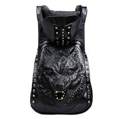 school bag · Cool Wolf Rivets Hooded Backpack Men s Backpack 6f4d52f2403fa
