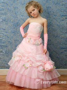 Little girl in Fuchsia Pink Princess Flower girl dress posing with ...
