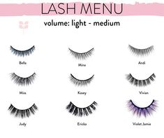New to lashes? Check out this lash menu with the light- medium in volume lashes. These are shorter as well as less full. If #falsies intimidate you, stick to the top row. If you feel brave and just wanna say f-it I'm going to try them get one from the bottom row. Somewhere in the middle, middle row is where you need to be! Best Fake Eyelashes, Applying False Eyelashes, Mink Eyelashes, Eyelash Tips, Almond Eyes, Online Gift Cards, Deep Set Eyes, Gothic Makeup, Falsies
