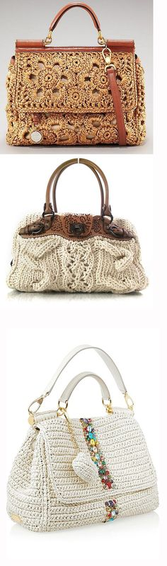 Crocheted Bags: Designers' Fertile Imagination, фото № 1 Bags 2017, Crochet Purses, Branded Bags, Knitted Bags, Crochet Fashion, Handmade Bags, Purses And Bags, Knit Crochet, Crochet Patterns