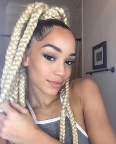 Pinterest:@JORDANLANAI blonde and box braids image