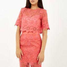 Coral floral lace crop t-shirt £40 #riverisland
