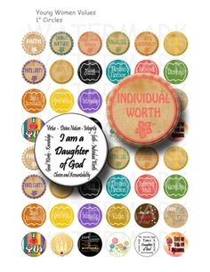 Young Women Values - Digital Collage Sheet  - 1 inch Round Circles - Buy 2 Get 1 Free - Sale