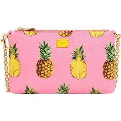 Dolce & Gabbana Women Pineapples Print Grained Leather Clutch ($400) ❤ liked on Polyvore featuring bags, handbags, clutches, wristlet purse, dolce gabbana handbags, pink wristlet, pink handbags and pineapple purse