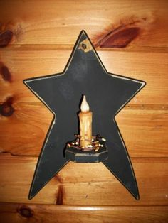PRIMITIVE+BLACK+WALL+STAR+CANDLE+HOLDER/Country/Rustic