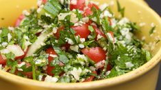 Tabbouleh salad with cauliflower rice is one of our favorite salads ever. The fresh lemon with the crisp parsley is perfect for any meal.