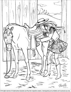 Barbie coloring page Barbie preparing for horseback riding