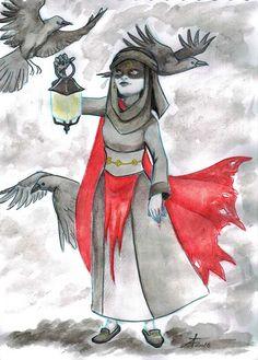 Tiamate - Tsumie from Allfanarts forum.  Indian Ink and Watercolor. Cœur Métisse © Theo Adamec  #indianink #watercolor #crows #darkness #lantern