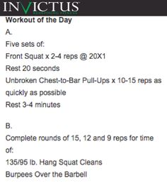 CrossFit Invictus Performance Workout for June 29, 2015