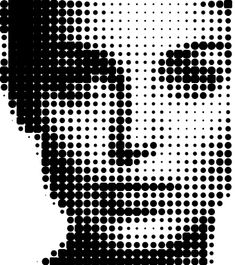 A Halftone imagery is a repetitive technique that stimulates continuous tone through the use of dots, varying in size or spacing.This halftone process generally generates a gradient effect. Muster Tattoos, Stoff Design, Arte Pop, Art Plastique, Geometric Art, Black Art, Art Images, Pixel Art, Screen Printing