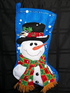 18 inch, PERSONALIZED, SEQUINNED SNOWMAN Christmas Stocking on Etsy, $89.00