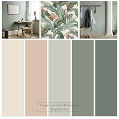 "This Farrow and Ball colour palette was inspired by the stunning ""Tropical Chic"" pattern - Wallpaper Murals. Love the soft greens combined with Farrow and Ball's best selling pink. Bedroom Colour Palette, Green Colour Palette, Bedroom Color Schemes, Bedroom Colors, Colour Schemes, Paint Colors For Home, House Colors, Colorful Decor, Colorful Interiors"