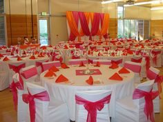 Reception - Hayward's Decorations, LLC Fuchsia & Orange wedding reception