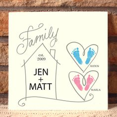 Family House Plaque. Turn your child's precious handprints, footprints and thumbprints into personalized keepsakes that are sure to be cherished for many years to come!! Simply capture your prints on paper (we recommend using our Ink-less Print Kit), and we will do the rest! Makes a great gift for moms, dads, grandparents, holidays, birthdays and special occasions! www.myforeverprints.com