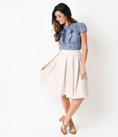 We'll take a double dose, dames! A light ivory circle skirt crafted in a textured and luxuriously soft stretch knit, com...Price - $28.00-xTh3Sq59