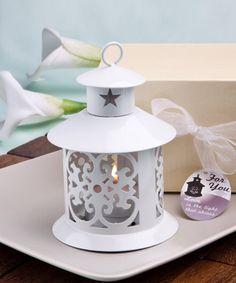 Fabulous white metal lantern favor