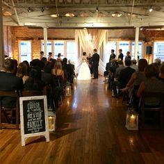 Samantha & Tim's ceremony at The Stockroom in Raleigh NC #bunndjco #weddingceremony #timlovessamantha #stockroomat230wedding