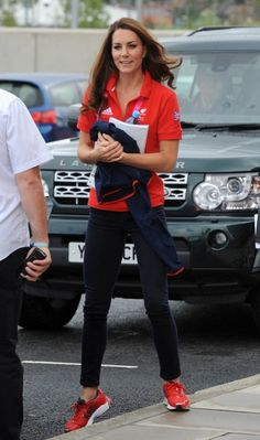 ugust 30, 2012: Kate Middleton attends the London 2012 Paralympic Games in her Team GB uniform, including a red Team GB polo, a Team GB navy fleece sweater and red Adidas Supernova Glide 4 sneakers.    Photography by Stefan Rousseau – WPA Pool/Getty Images         back to article  Advertisement