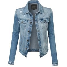 LE3NO Womens Oversized Long Sleeve Distressed Boyfriend Denim Jacket (€36) ❤ liked on Polyvore featuring outerwear, jackets, coats, shirts, tops, blue jackets, oversized jackets, distressed jacket, jean jacket and pocket jacket