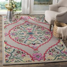 Safavieh Bellagio Handmade Boho Medallion Dark Grey/ Multi Wool Rug - x Square x Square - Dark Grey/Multi), Gray Oriental Pattern, Oriental Rug, Tapete Floral, Floral Area Rugs, Wool Runners, Contemporary Home Decor, Cool Rugs, Online Home Decor Stores, Online Shopping