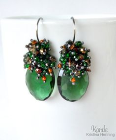 Emerald Green Gemstone Cluster Earrings Wire Wrapped by Kande, $226.00
