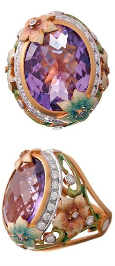 """MASRIERA"" Art Nouveau Amethyst Ring with Enamel & Diamonds, Spain. (Contemporary) 'for bolo tie?."