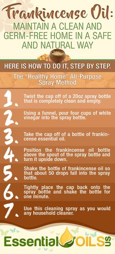 "Maintain a clean and germ-free home in a safe and natural way with frankincense essential oil. Make use of this ""healthy home"" all-purpose spray method to get rid of dangerous germs. Essential Oils Cleaning, Best Essential Oils, Essential Oil Uses, Frankincense Essential Oil Benefits, Frankincense Resin, Jojoba Oil, Acupuncture, Oil Diffuser, Natural Healing"