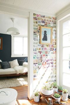 Polaroid / Instagram wall. Would be sweet for an apartment or dorm.
