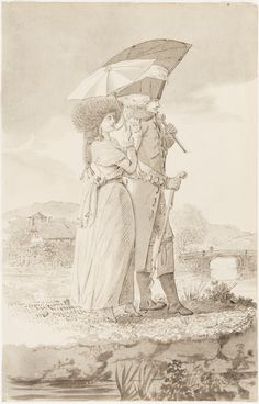 Berner officer with an actress of the theater group of Madame Coberwein by Johann Jakob Lutz, 1784