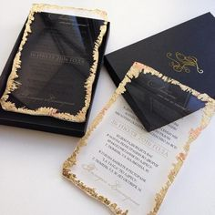 25 Shiny Gold Foil Wedding stationery, Wedding Ideas Black and Gold, Black Stationery, Luxury Wedding, Elegant Wedding Foil Wedding Stationery, Acrylic Wedding Invitations, Traditional Wedding Invitations, Laser Cut Wedding Invitations, Wedding Invitation Cards, Wedding Cards, Event Invitations, Invitation Ideas, Wedding Stationary